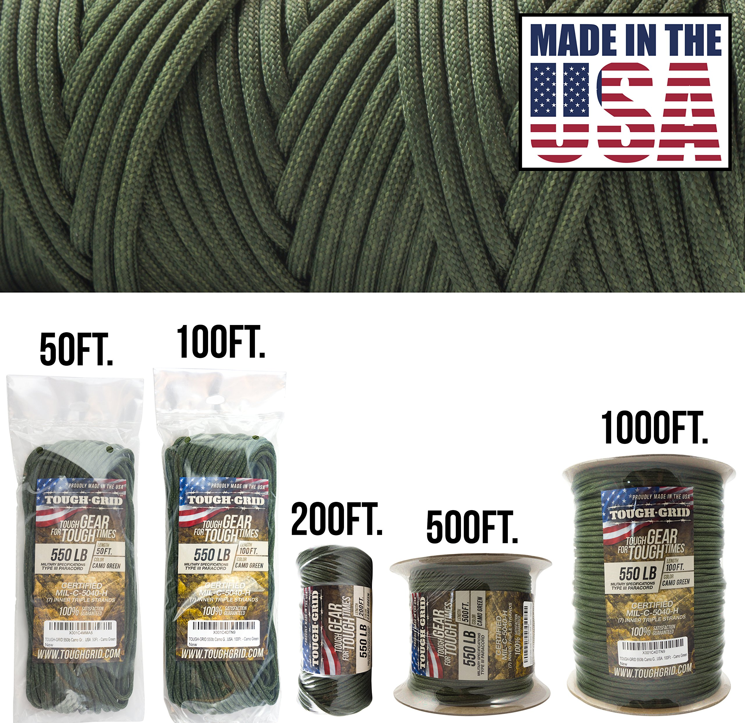 TOUGH-GRID 550lb Camo Green Paracord/Parachute Cord - 100% Nylon Genuine Mil-Spec Type III Paracord Used by The US Military - Great for Bracelets and Lanyards - Made in The USA. 50Ft. - Camo Green