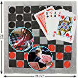 Elite Sportz Giant Card Games for kids - Giant Indoor Outdoor Yard Games including a Giant Checkers Rug for Kids and Tic Tac Toe - Durable ZipUp Carry Bag for Storage