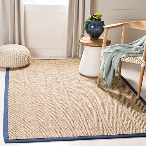 Safavieh Natural Fiber Collection NF115E Herringbone Natural and Blue Seagrass Area Rug 8 x 10