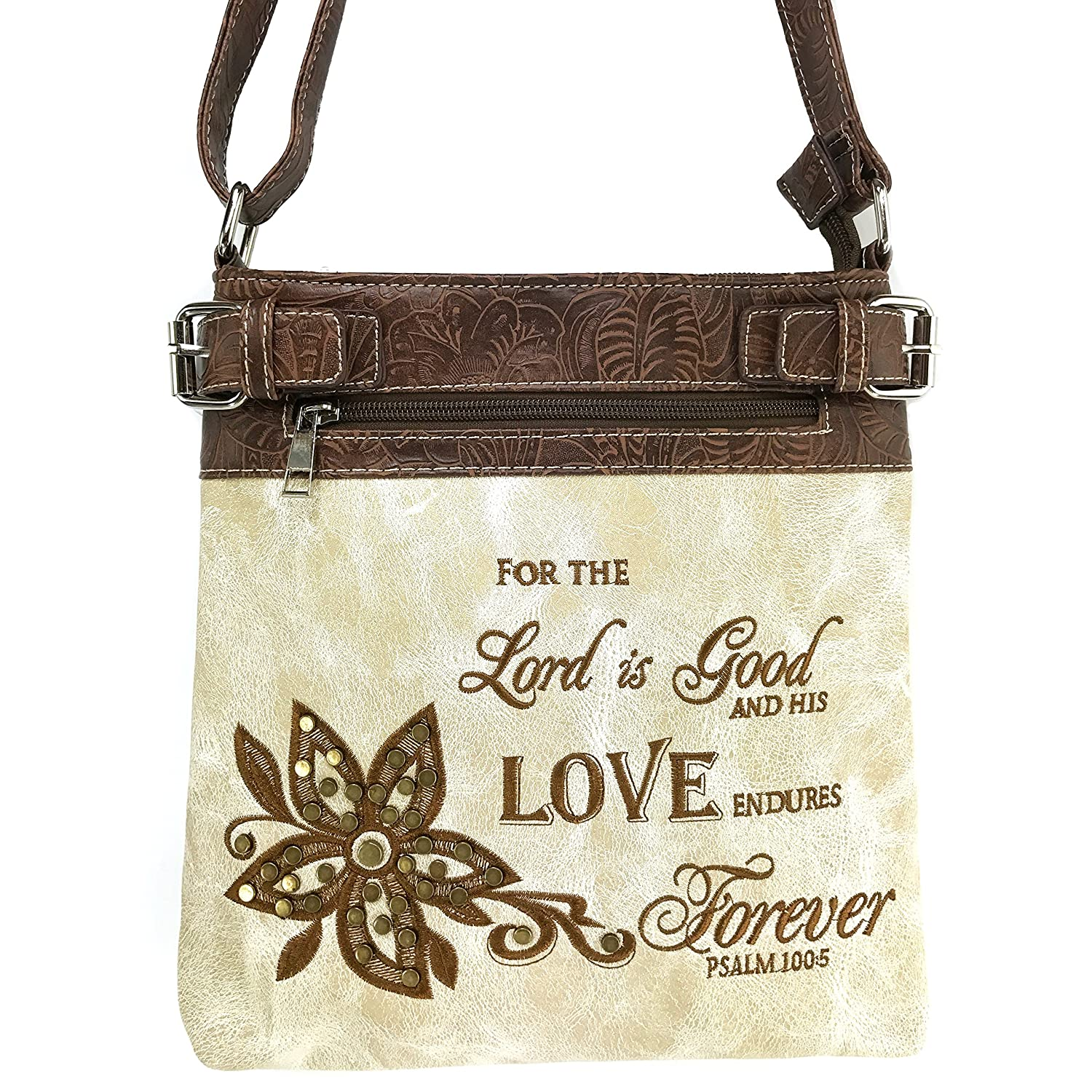 Justin West Cross Angel Wings Concealed Carryハンドバッグ財布クロスボディメッセンジャーバッグと財布  Beige Messenger Bag B01I7DGXJI