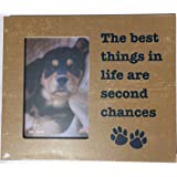 The Best Things In life Are Second Chances Paw Print Dog Rescue Picture Frame Vertical 4x6