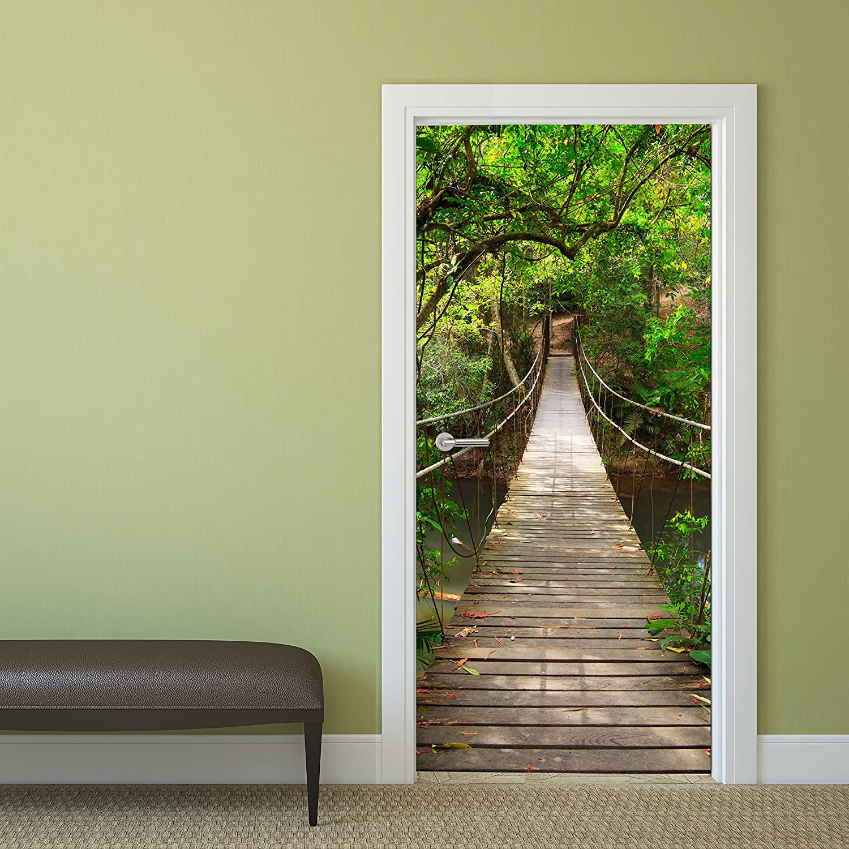 Photo Door Wallpaper Mural Jungle Catwalk 92 x 202 cm Wallpaper Rope ...