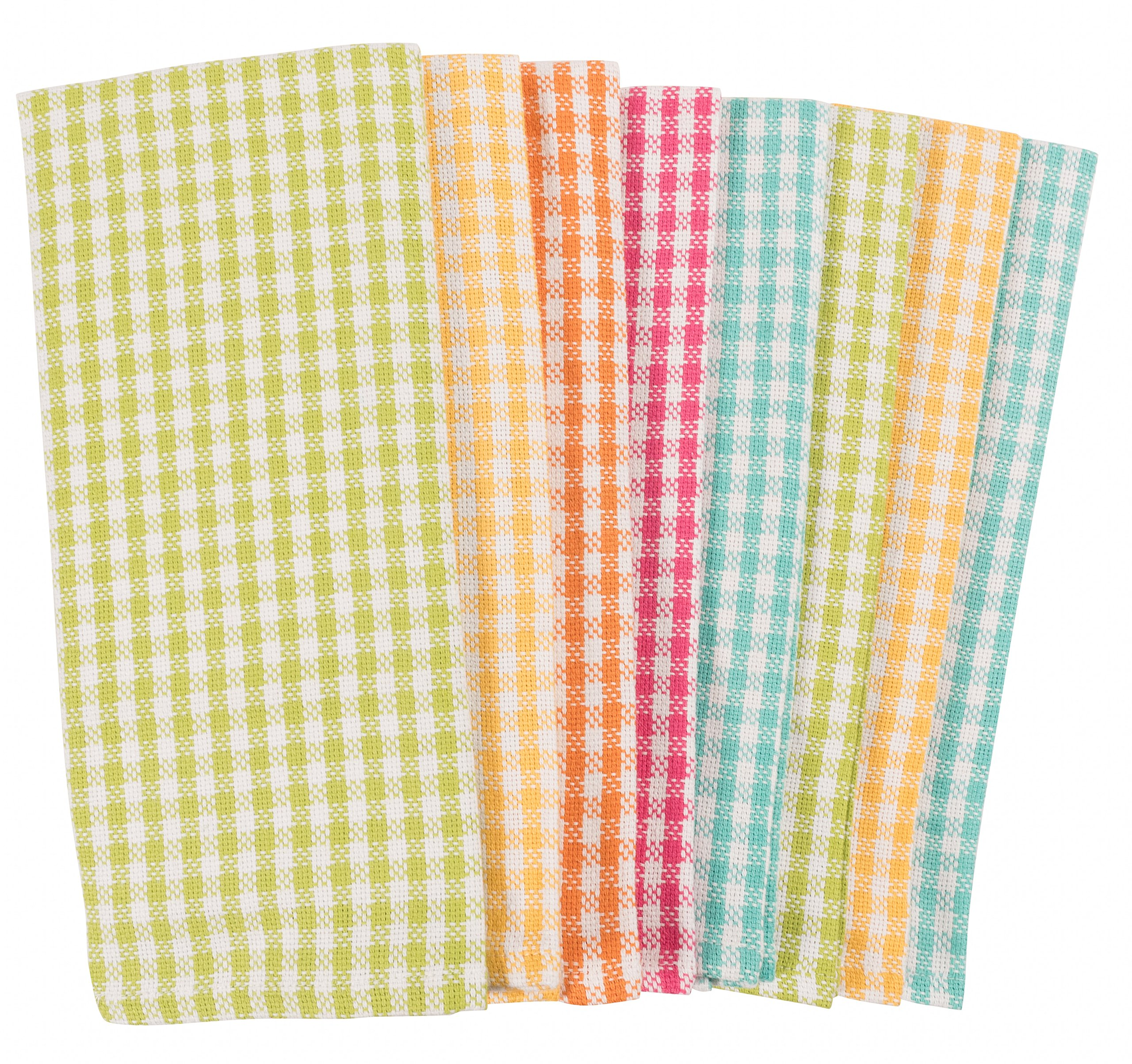 KAF Home Gingham Check Kitchen Towels | Set of 8, 100% Pure Cotton, 16'' x 26'' Kitchen Towels | Absorbent, Soft, Fun, and Beautiful Kitchen Towels | Perfect for Barbecuing and Grilling (Brights)