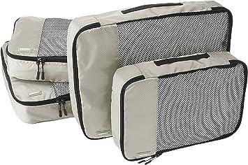 Amazon Basics 4 Piece Packing Travel Organizer Cubes Set - 2 Medium and 2 Large, Grey