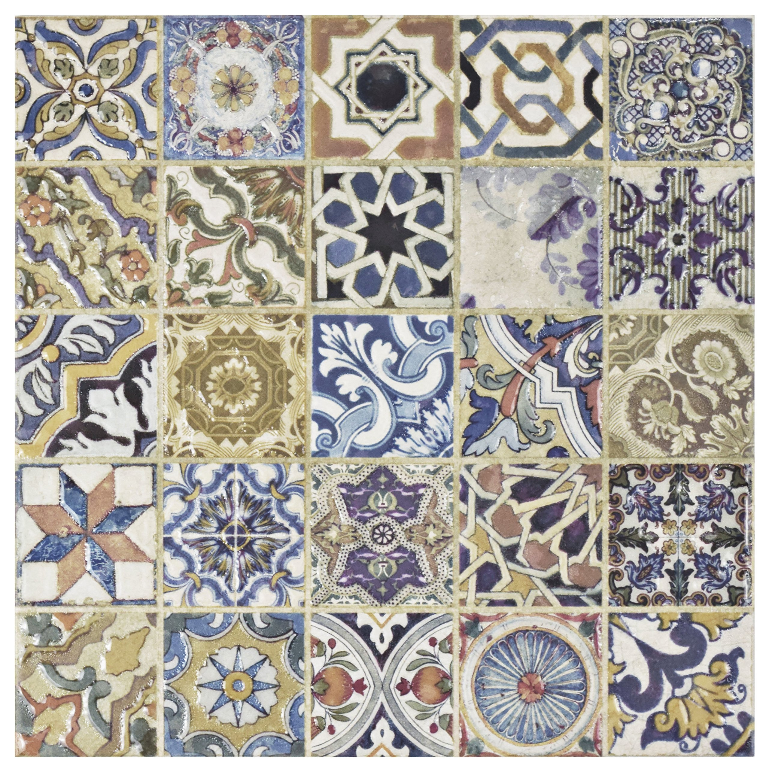 SomerTile FPM12ARD Leon Ceramic Floor and Wall Tile, 12.5'' x 12.5'', Cream/Blue/Purple/Green/Red/White/Beige/Brown/Black/Yellow