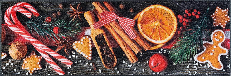 Sehr hochwertiger Küchenläufer Größe ca. 60 x 180 cm - Orangen - Gewürze - Zimt - - Winter - Weihnachten - Küchenmatte - Dekoläufer für Küche und Bar / Teppich Läuf