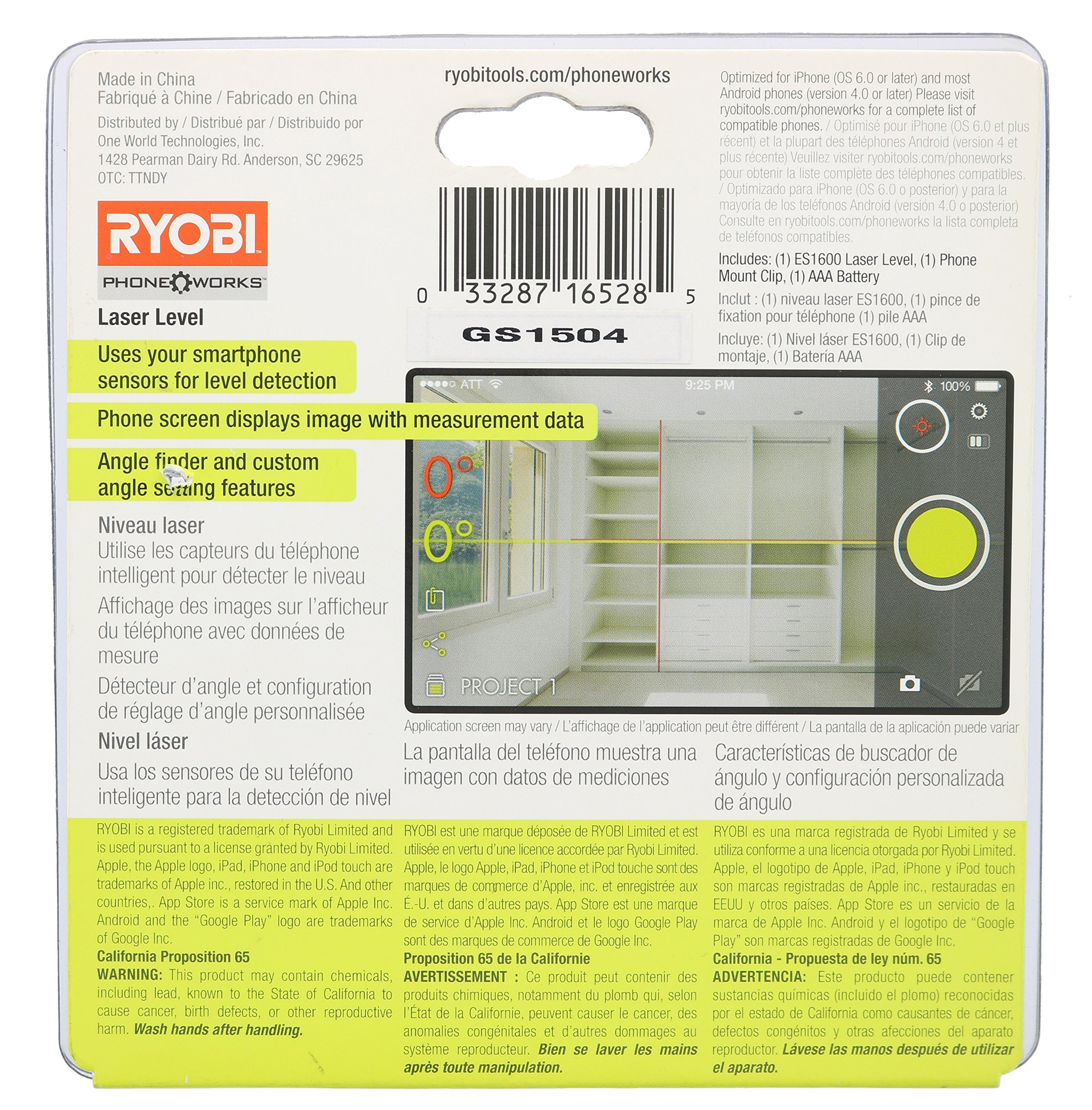 Ryobi ES1600 Phone Works Crosshair Laser Level with App Download and Tripod Clip (Tripod and Cell Phone Not Included) by Ryobi (Image #1)