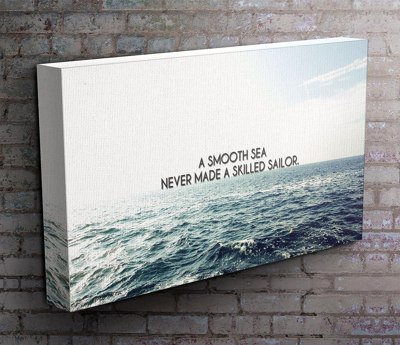 Motivational Canvas Art Print FramedA Smooth Sea Panoramic 50 inch x 20 inch Stunning Art