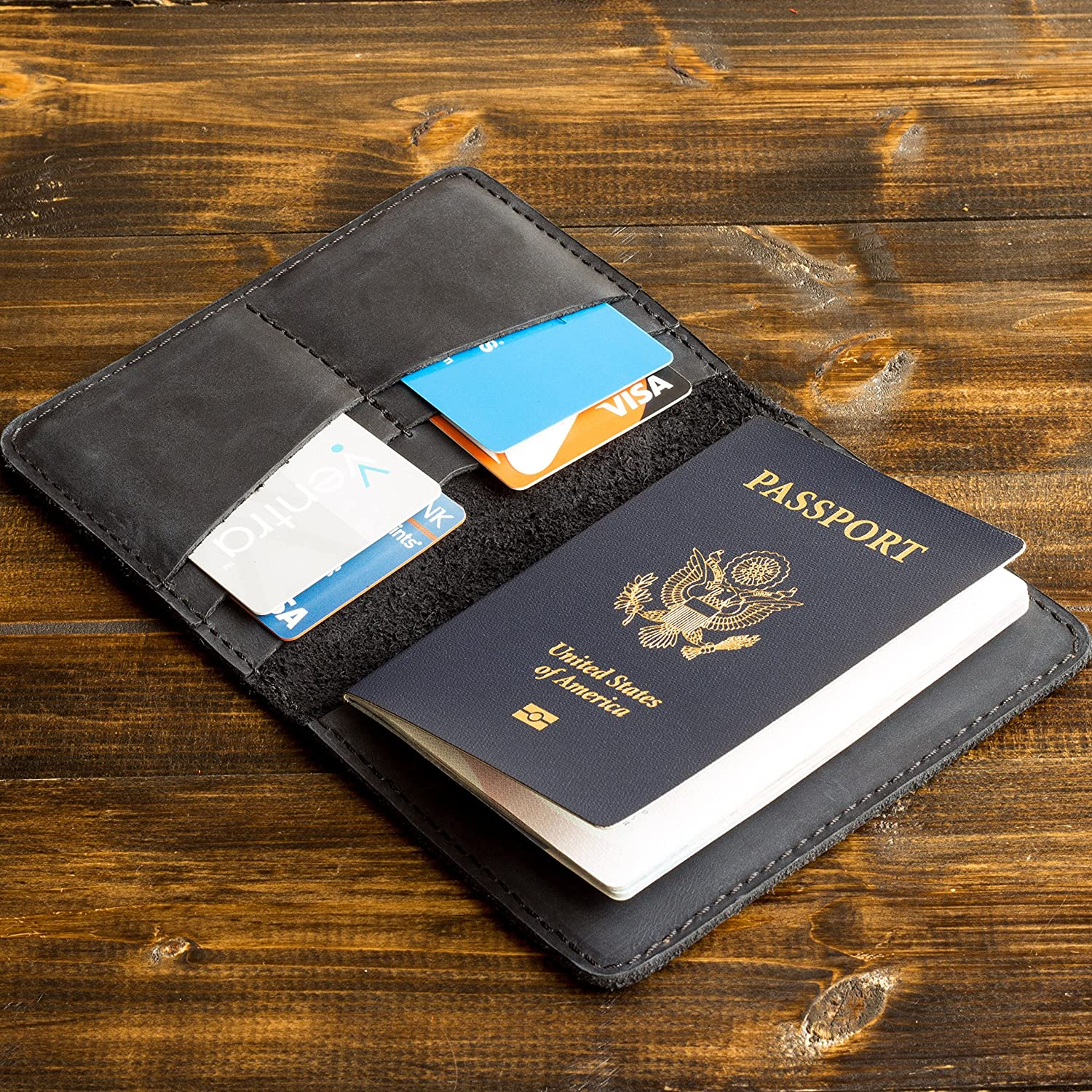 Pegai Passport Wallet, Distressed Leather Travel Wallet, Handcrafted Soft Leather Passport Holder, Rustic Passport Cover - Pike Charcoal Black