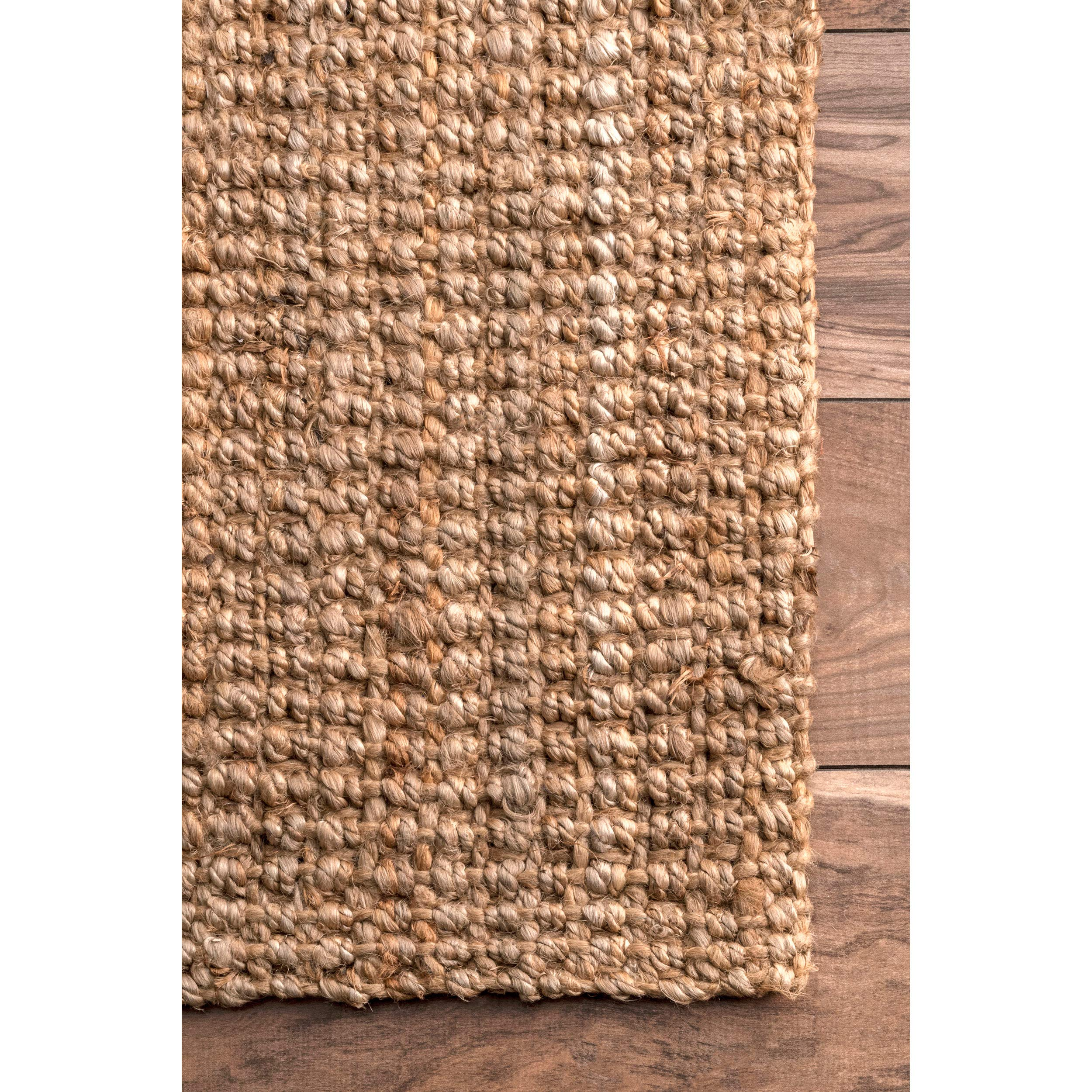nuLOOM Handwoven Jute Ribbed Solid Area Rugs, 4' x 6', Natural by nuLOOM (Image #5)