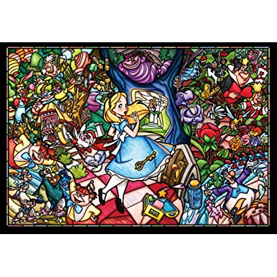 500 piece jigsaw puzzle stained art Alice in Wonderland story stained glass tightly series small pieces (25x36cm): Juguetes y juegos
