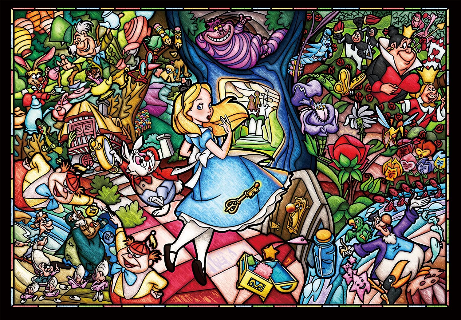 500 piece jigsaw puzzle stained art Alice in Wonderland story stained glass tightly series small pieces 25x36cm