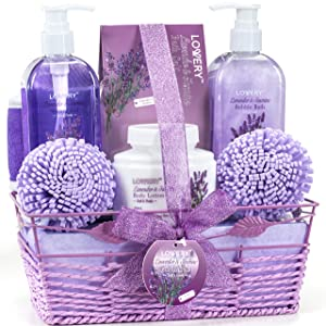 Home Spa Gift Baskets For Women - Bath and Body Gift Basket For Women and Men – Lavender and Jasmine Home Spa Set with Body Lotions, Bubble Bath, Bath Salt and Much More