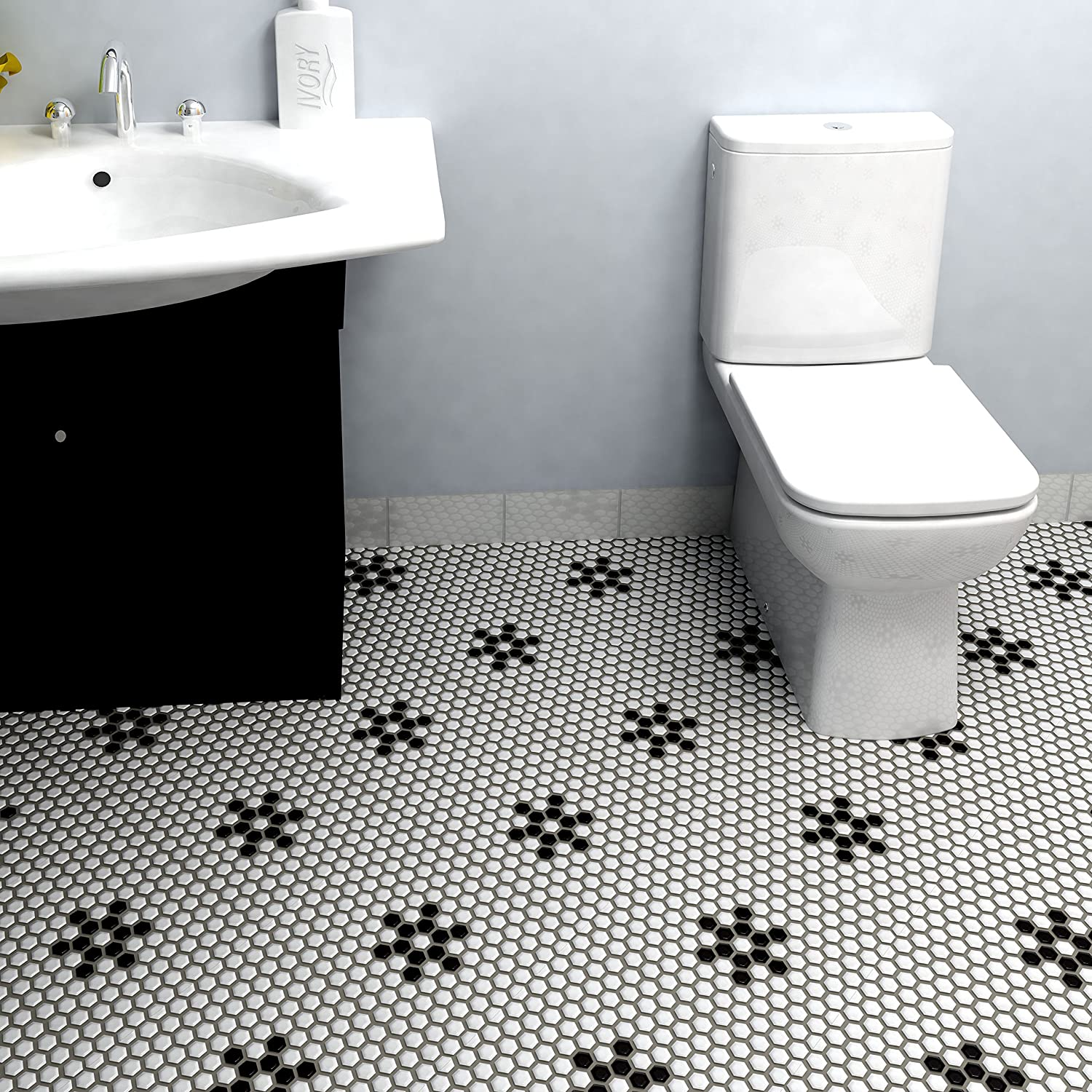 SomerTile FXLM1HMS Retro Hex Snowflake Porcelain Floor and Wall Tile ...