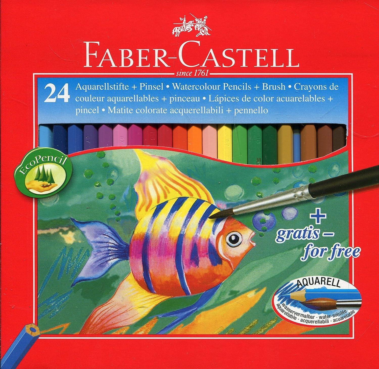 Faber-Castell 114425 - Estuche de 24 ecolápices de color acuarelable, 1 pincel: Amazon.es: Oficina y papelería