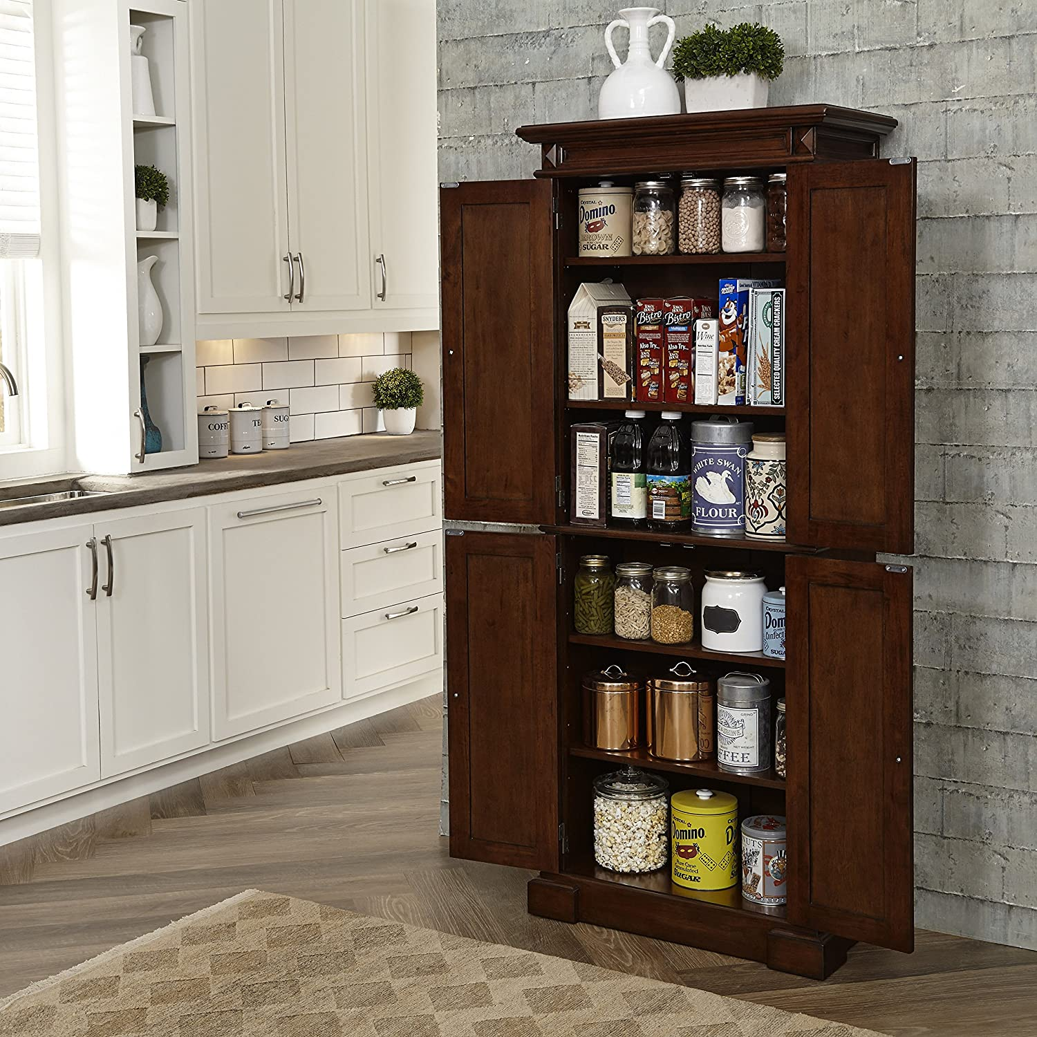 Amazon.com: Home Styles 5005 69 Americana Kitchen Pantry, Cherry Finish:  Kitchen U0026 Dining