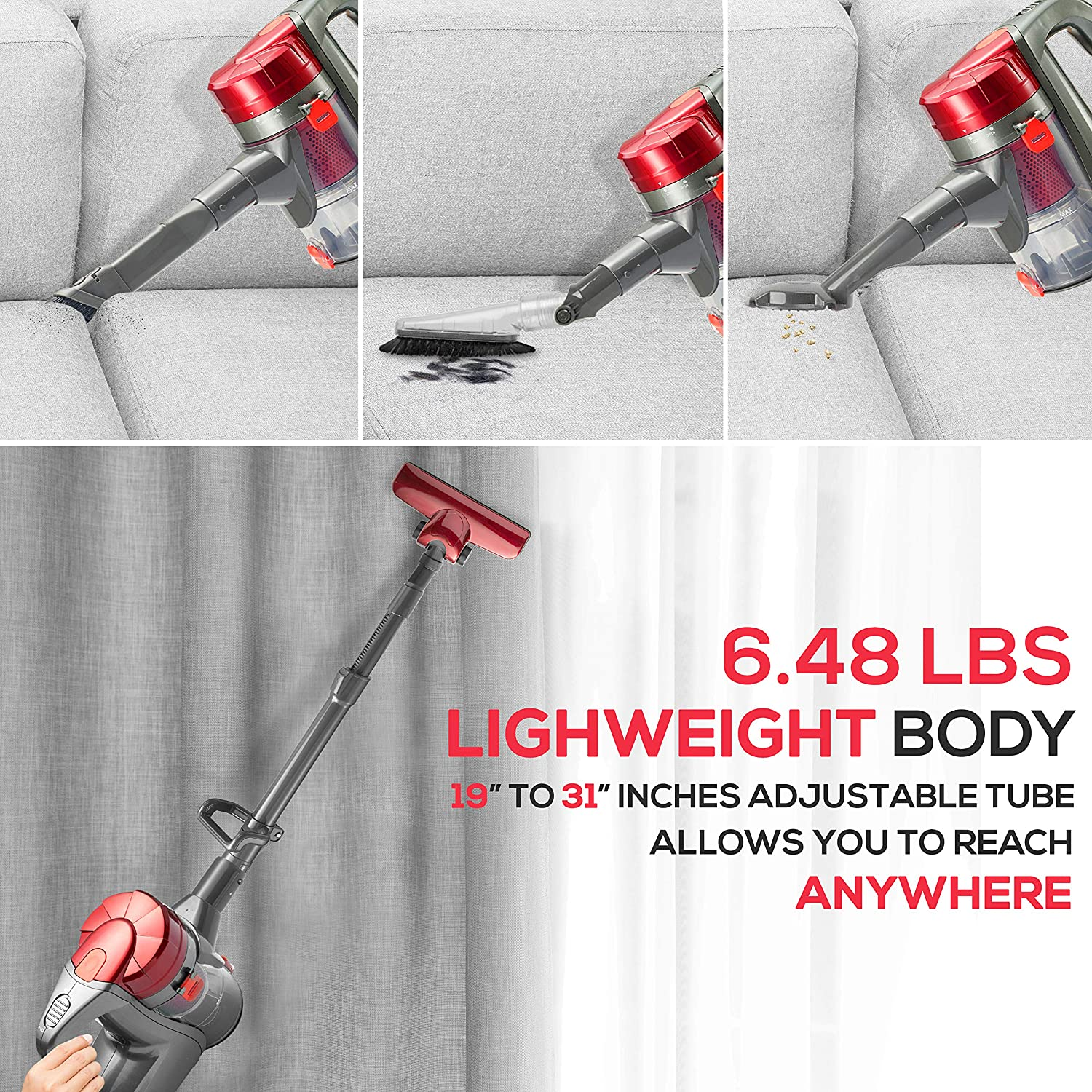Corded Handheld Stick Vacuum Cleaner - 15kPa High Powered Suction Lightweight Bagless Hand Vacuum Cleaner w/ HEPA Filter, Dust Bin Canister, For Tile Wood Bare Hard Floor Carpet - Pure Clean PUCVC38