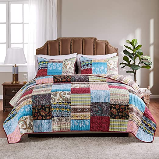 Multicolor Greenland Home 3-Piece Oxford Quilt Set Full//Queen