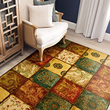 Amazon Com Mohawk Home Free Flow Artifact Panel Patchwork Area Rug 5 X8 Multi Furniture Decor