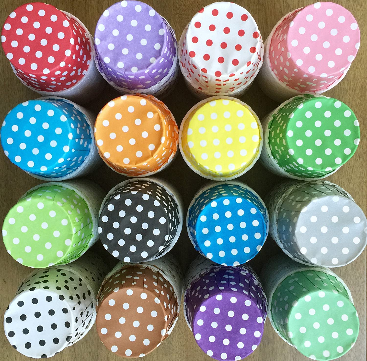 Candy Nut Mini Baking Paper Treat Cups Purple White Bulk 100 Pack Polka Dot