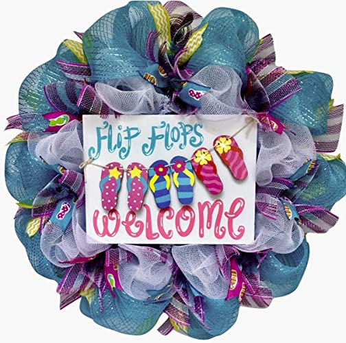 4773ef9e8db297 Image Unavailable. Image not available for. Color  Flip Flops Welcome  Clothesline Deco Mesh Summer Wreath