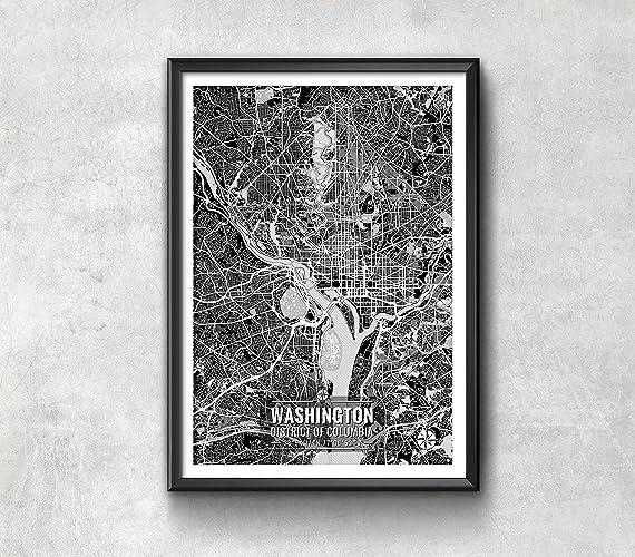 Amazoncom Washington DC Map with Coordinates Washington DC
