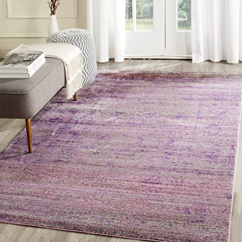 Safavieh Valencia Collection VAL203N Lavender and Multi Distressed Watercolor Silky Polyester Area Rug 4' x 6'