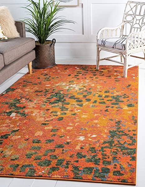 Unique Loom Jardin Collection Vibrant Abstract Orange Area Rug (7 x 10)