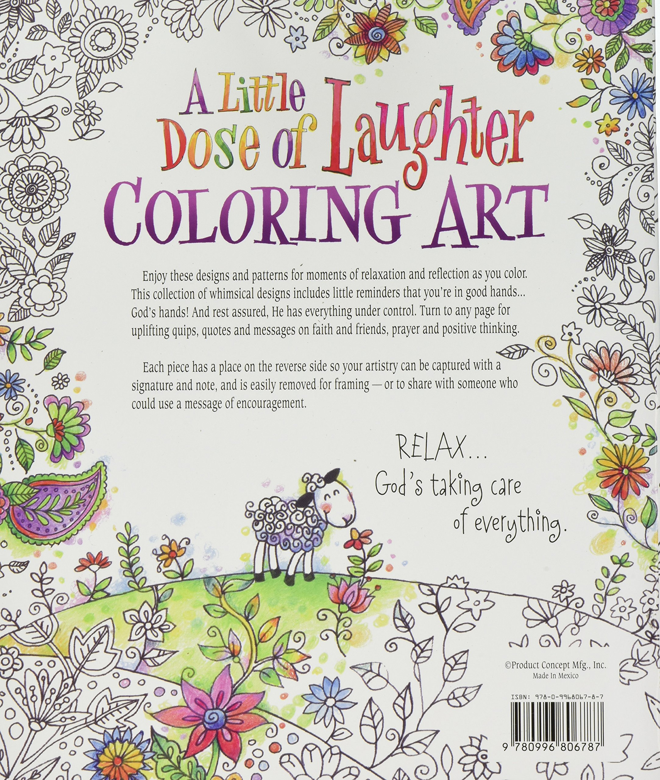 Whimsical designs coloring book - Amazon Com A Little Dose Of Laughter Coloring Art 9780996806787 Inc Product Concept Mfg Books