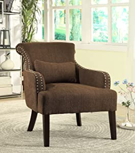 Furniture of America Venize Contemporary Style Accent Chair, Brown