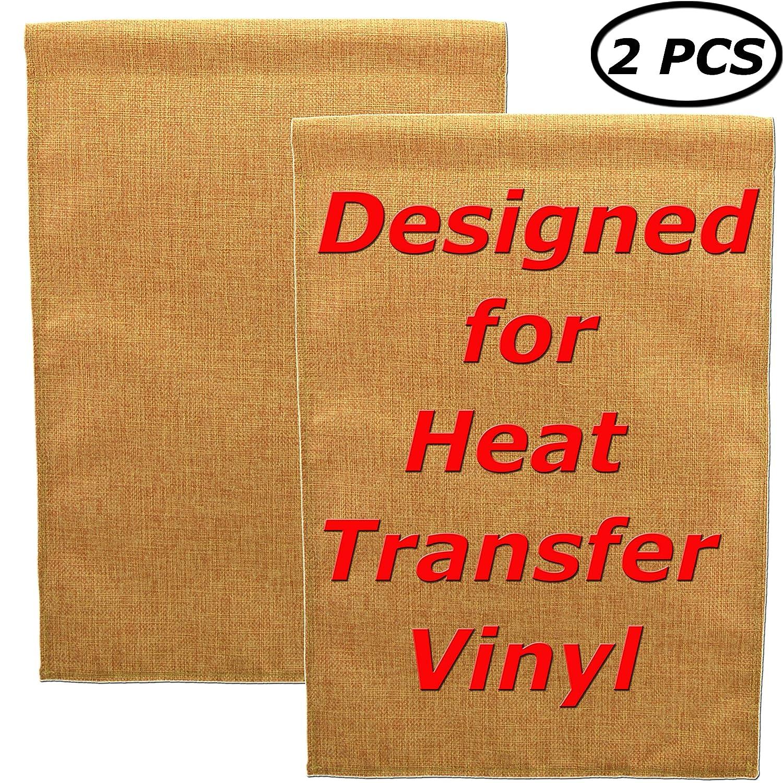 "Star DIY Blank Burlap Garden Flag Designed for HTV | Sturdy Double Sides Jute Lawn Yard Banner | Heavy Duty Decoration for Heat Press Custom Vinyl Design 18"" Hx12 W, Pack of 2 (Square, Burlap Color)"