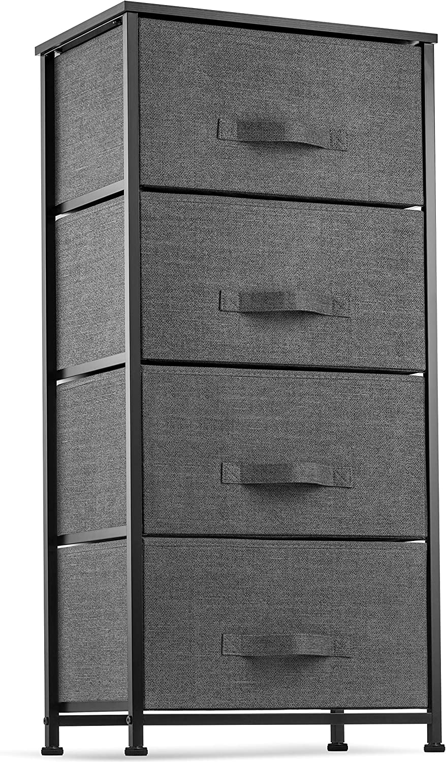 4 Drawer Dresser Organizer Tall Fabric Storage Tower for Bedroom, Hallway, Entryway, Closets, Nurseries. Furniture Storage Chest Sturdy Steel Frame, Wood Top, Easy Pull Handle Textured Print Drawers
