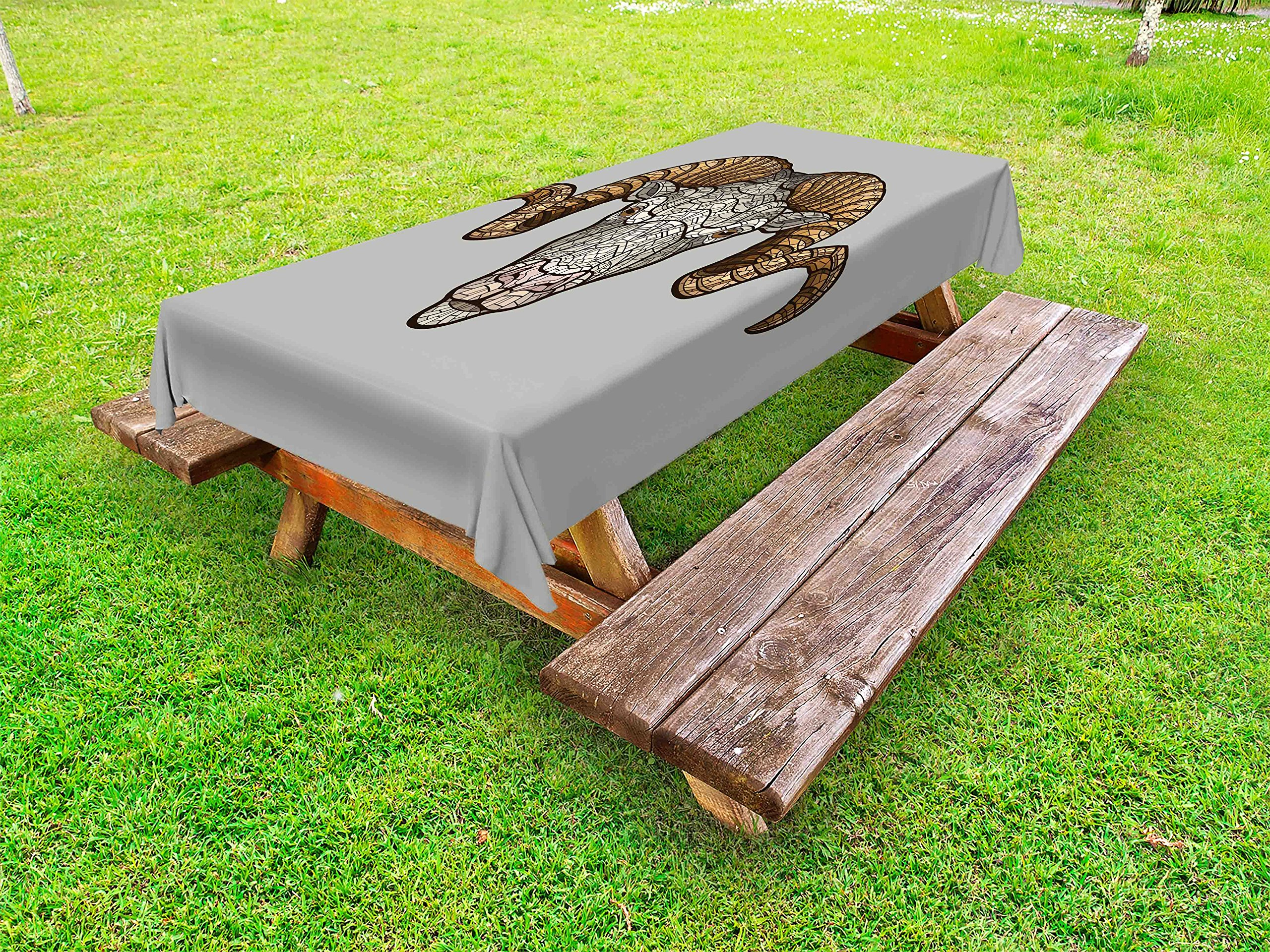 Ambesonne Zodiac Aries Outdoor Tablecloth, Animal with Artistic Fractal Look and Big Horns Strength Symbol, Decorative Washable Picnic Table Cloth, 58 X 120 inches, Pale Grey and Pale Brown