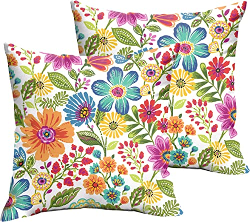 Mozaic Company Indoor Outdoor 20-inch Knife Edge Pillow, Multicolor Floral, Set of 2