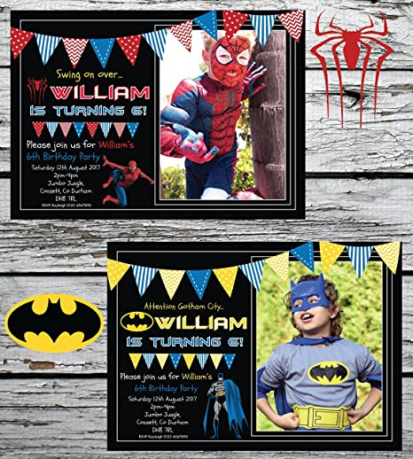 10 Personalised Batman Spiderman Superhero Birthday Party Invitations Invites Amazoncouk Kitchen Home