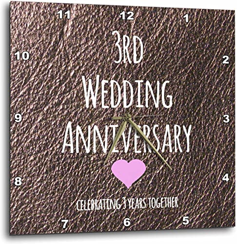 3dRose 3rd Wedding Gift-Leather Celebrating 3 Years Together Third Anniversaries Three yrs-Wall Clock