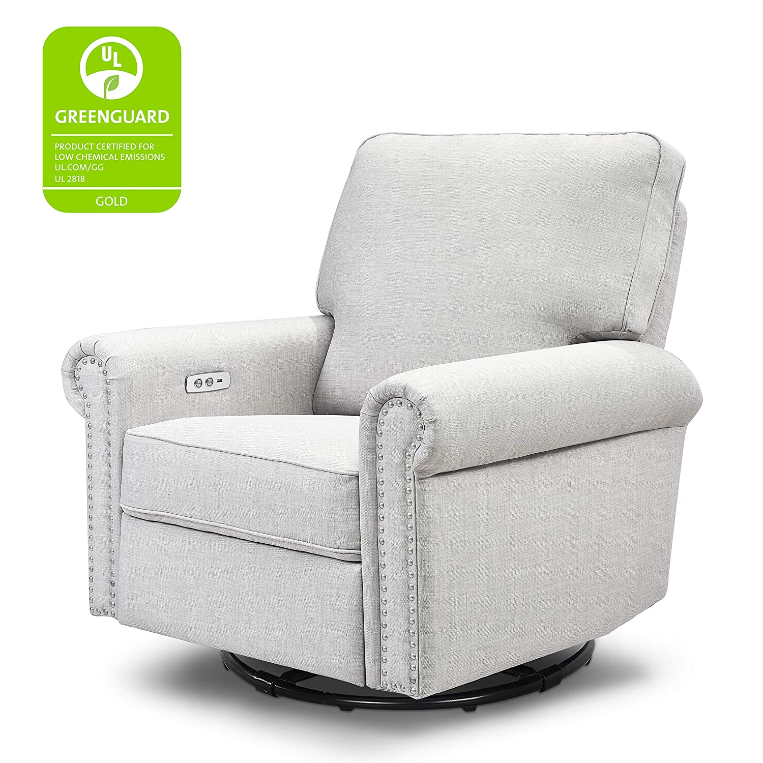 Million Dollar Baby Classic Linden Power Recliner and Swivel Glider in Light Grey Tweed USB Charging Port Push-Button Electronic Reclining Mechanism