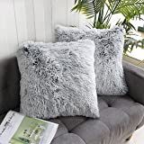 Uhomy 2 Packs Home Decorative Luxury Series Super Soft Faux Fur Throw Pillow Cover Cushion Case for Sofa or Bed Gray…