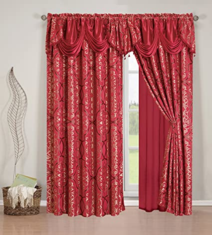 Elegant Home Beautiful Burgundy Maroon Window Embroidery Curtain Drapes  All In One Set With