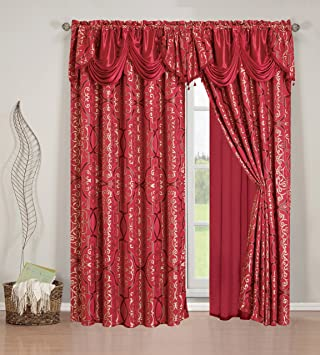 Amazon.com: Elegant Home Beautiful Burgundy Maroon Window Embroidery Curtain  Drapes All In One Set With Attached Valance U0026 Sheer Backing For Living Room,  ...