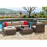 Suncrown Outdoor Furniture Sectional Sofa & Chair (6-Piece Set) All-Weather