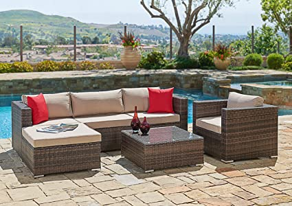 Waterproof Garden Furniture Amazon suncrown outdoor furniture sectional sofa chair 6 suncrown outdoor furniture sectional sofa chair 6 piece set all weather workwithnaturefo