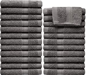 """Pleasant Home Washcloths Set - 24 Pack (12"""" x 12"""") – 570 GSM- 100% Ring Spun Cotton Wash Cloth - Super Soft and Highly Absorbent Face Towels (Grey)"""