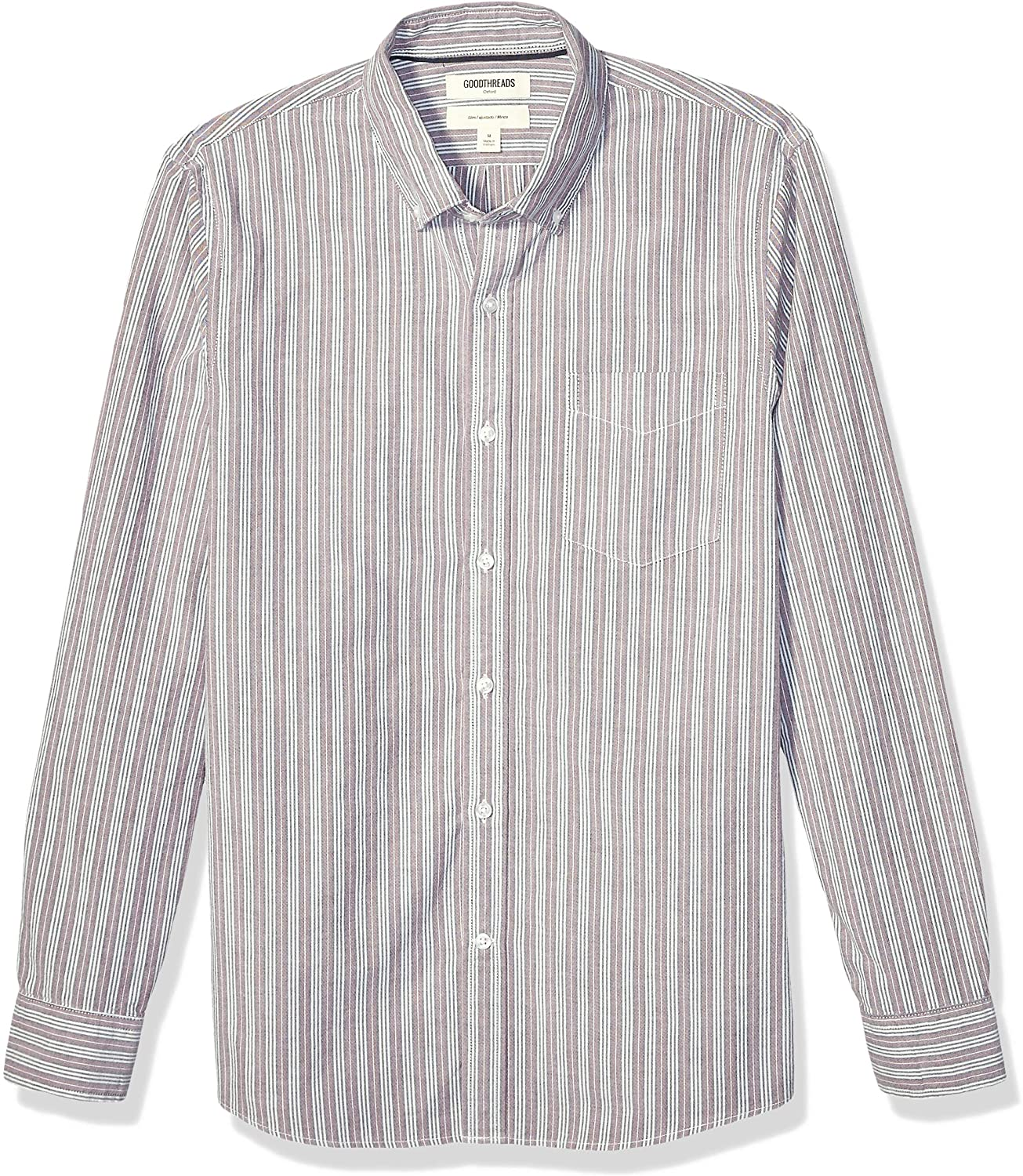 Marchio Goodthreads Slim-Fit Long-Sleeve Fashion Stripe Oxford Shirt Uomo