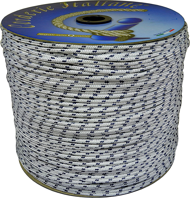 06/MM-250/MT Corderie Italiane 1038887/ White with Blue Plastic Label /00/Braid Nautica Color: White with Blue Marker