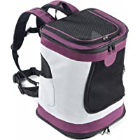 Puppy Cat Small Dog Airline Approved Traveling Hiking Camping Backpack Outdoor Use Double Shoulder Bag Portable Foldable Collapsible Soft-Sided Pet Carrier Hold Pets up to 12 lbs (Purple)