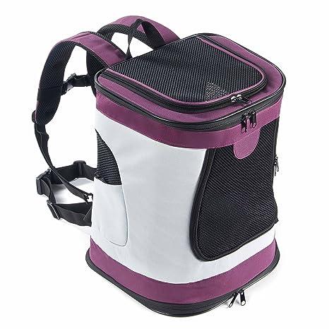 Mochila Perro Gato Pequeños Resistente Backpack Plegable Transportín Portatil para Viaje Trekking Moto Avión Entrenar con