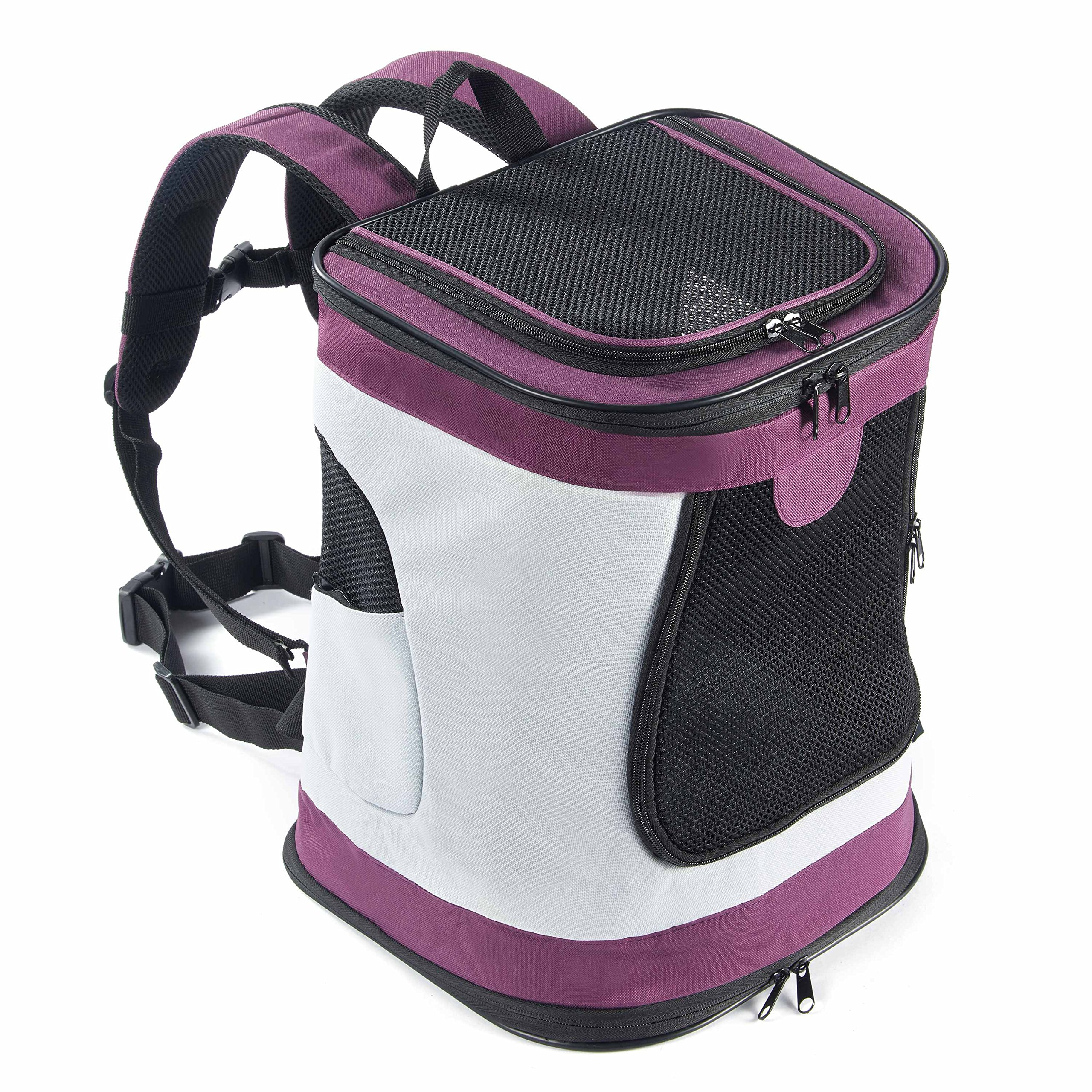 Pettom Soft Sided Cat Dog Carrier Should Bag Backpack for Pets Outdoor Travel Up to 22lbs (Purple)