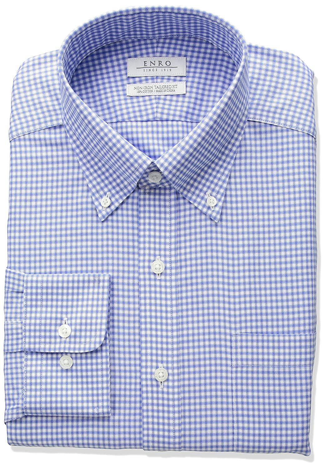 Enro Mens Tailored Fit Non Iron Cotton Check Dress Shirt At Amazon