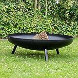 Feuerschale Robusta–Ø100x 20cm–Amazing Hochwertiger 3mm dick schwarz Stahl–mit 2Griffe für einfachen Transport